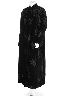 Lot 82 - A Fauro of Torino black velvet evening coat embroidered with reeds of silk cord, late 1940s-early 50s