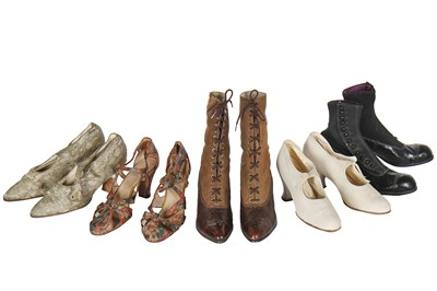 Lot 18 - Five pairs of shoes and boots, 1890s-1930