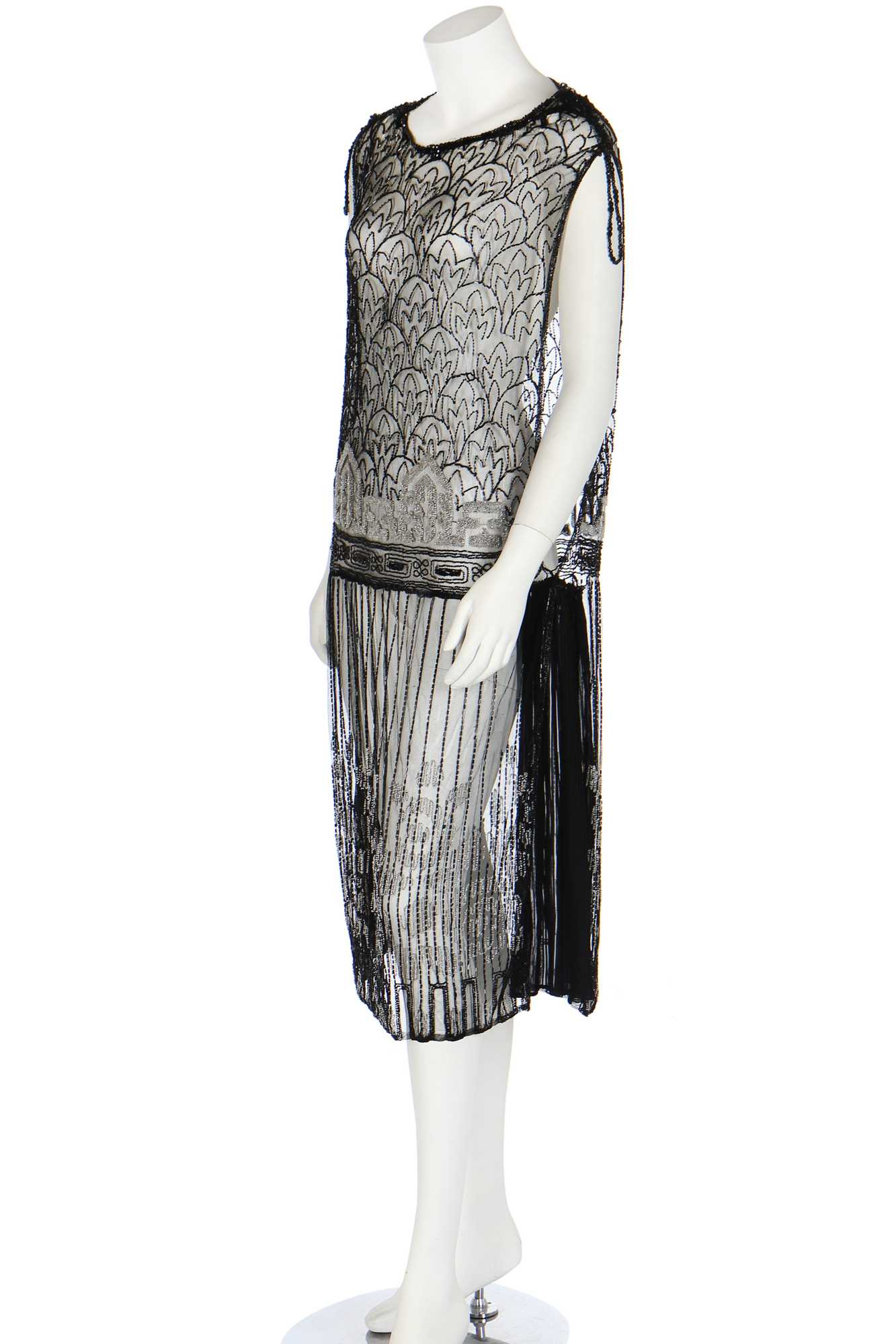 Lot 39 - A trompe l'oeil beaded black muslin bodice, 1920s