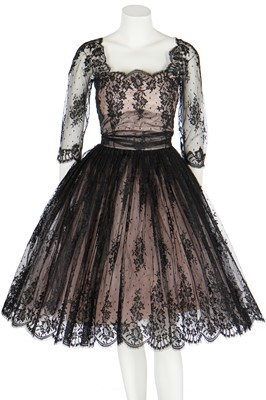 Lot 93 - A Hardy Amies couture 'Chantilly' lace cocktail dress, late 1950s
