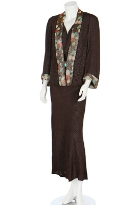 Lot 70 - Two good lamé evening gowns in shades of gold and brown, 1930s