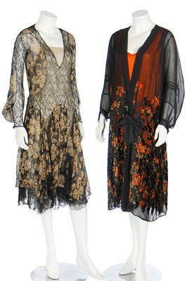 Lot 54 - Six dinner dresses, mainly black, late 1920s-1930s