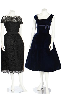 Lot 96 - Five evening or cocktail dresses, late 1940s-early 1960s