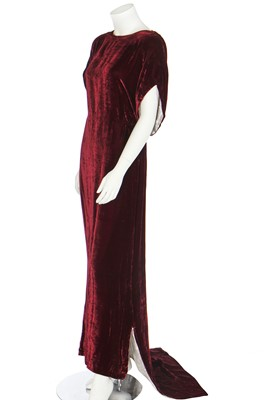 Lot 63 - Four velvet evening gowns with couture finishings, 1930s