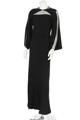 Lot 71 - Three black crêpe evening gowns with couture finished seams, 1930s