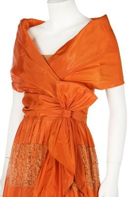 Lot 75 - A Madame MacRal orange taffeta evening gown, late 1930s
