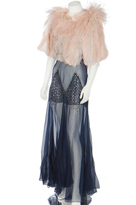 Lot 68 - A Lanvin-inspired blue chiffon evening gown with couture finished seams, circa 1934