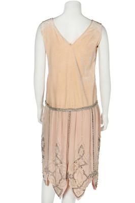 Lot 47 - A pale pink velvet flapper dress, mid 1920s