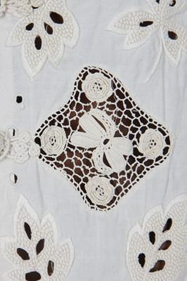 Lot 22 - An Irish crochet and cutwork linen jacket, circa 1910