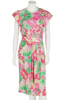 Lot 343 - A Lindka Cierach bespoke floral silk damask dress, worn by Sarah Ferguson, Duchess of York, 1987