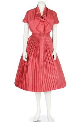 Lot 95 - A Dior London coral shantung-silk dress, 1959
