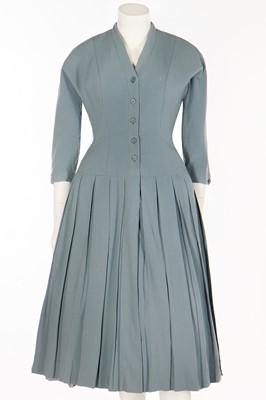 Lot 81 - A Christian Dior London dusky-blue wool day dress, circa 1955