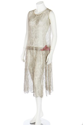 Lot 44 - A beaded black chiffon evening ensemble, 1920s and later altered