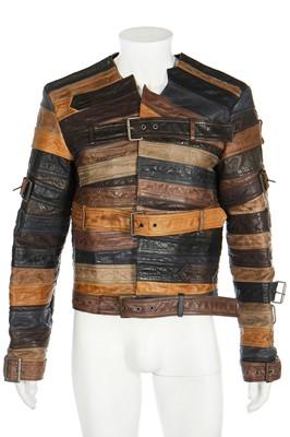 Lot 96 - A men's Maison Margiela for H&M leather jacket formed from belts, 2012