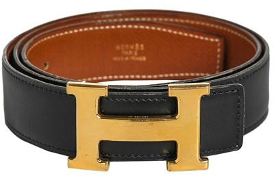 Lot 95 - An Hermès reversible leather belt, 1990s