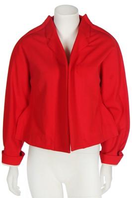 Lot 69 - A Comme des Garçons red cotton-blend jacket, 'Flat' or '2D' collection, Autumn-Winter 2012-13
