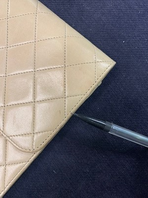 Lot 11 - A Chanel sand-coloured quilted lambskin leather bag, 1980s