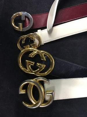 Lot 39 - Four Gucci leather belts with gilt double 'G' buckles, 1970s-80s