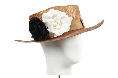 Lot 19 - A Chanel straw boater hat, 1980s