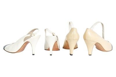 Lot 18 - Four pairs of Chanel shoes, 1980s