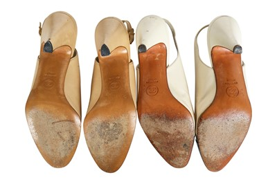 Lot 21 - Four pairs of Chanel leather shoes, 1980s