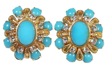Lot 25 - A Dior demi-parure of polished turquoise 'stones' inset into gilt frames, 1968