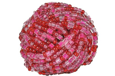Lot 26 - A Dior demi-parure of glass seed beads in shades of pink, 1966
