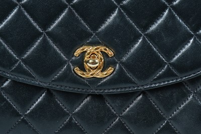 Lot 9 - A Chanel black quilted lambskin leather bag, circa 1992