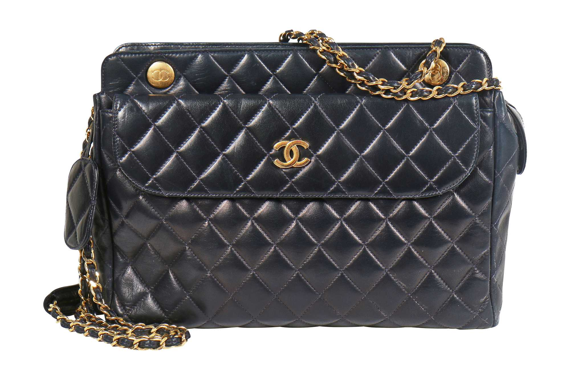 Lot 3 - A Chanel navy quilted lambskin bag, 1980s