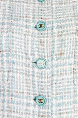 Lot 14 - A Chanel wool-blend tweed jacket in shades of ice-blue and white, Spring-Summer 1997