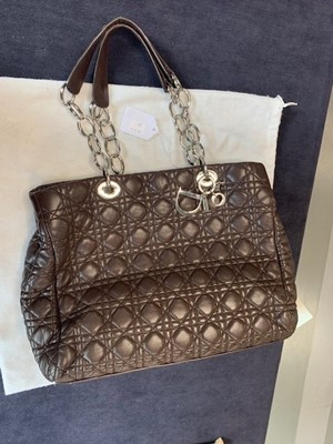 Lot 37 - A Dior 'cannage' quilted brown lambskin leather shopping tote bag, 2000s