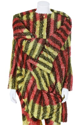 Lot 75 - An Issey Miyake red and yellow checked plush ensemble, Autumn-Winter 1998