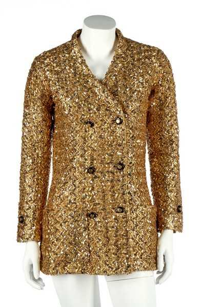 Lot 232-A Chanel couture gold lurex-weave jacket, 1969,...