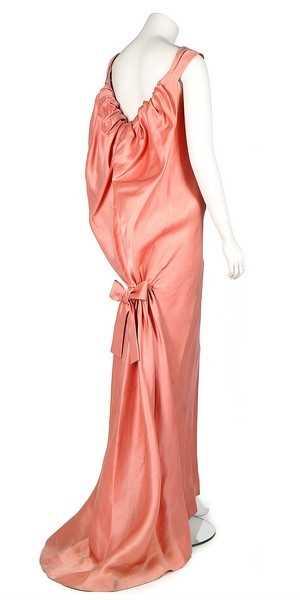 Lot 233-A Balenciaga couture pink slubbed satin...