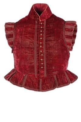 Lot 101-A rare crimson velvet jerkin, circa 1610-25,...