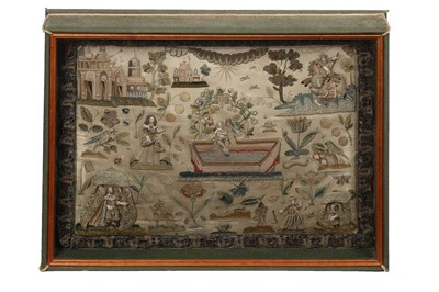 Lot 143 - A fine stumpworked, embroidered pillow worked...