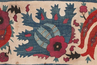 Lot 375 - A fine embroidered linen bolster panel,...