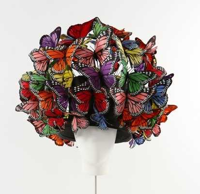 Lot 292-A Philip Treacy painted feather 'butterfly'...