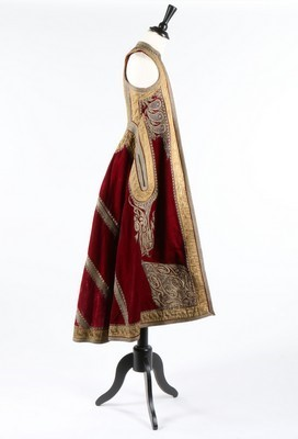 Lot 453-An embroidered wine velvet surcoat, Ottoman...