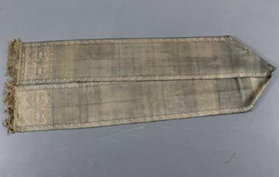 Lot 299-A fine woven silk and gilt thread sash, Polish...