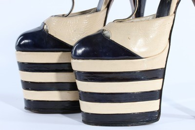 Lot 15-A pair of black and white leather fetish shoes,...
